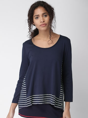Tommy Hilfiger Women Navy Blue & White Striped Top Tommy Hilfiger Tops at myntra