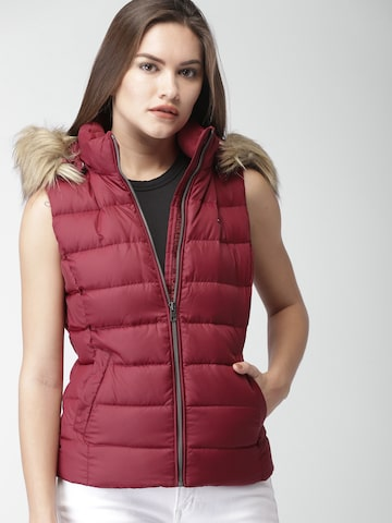 Tommy Hilfiger Women Red Solid Puffer Jacket Tommy Hilfiger Jackets at myntra