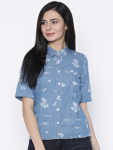 Lee Women Blue Custom Regular Fit Printed Casual Shirt Lee Shirts at myntra