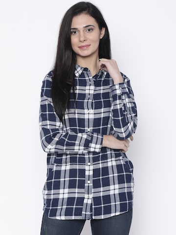 Lee Women Navy Blue & White Regular Fit Checked Casual Shirt Lee Shirts at myntra