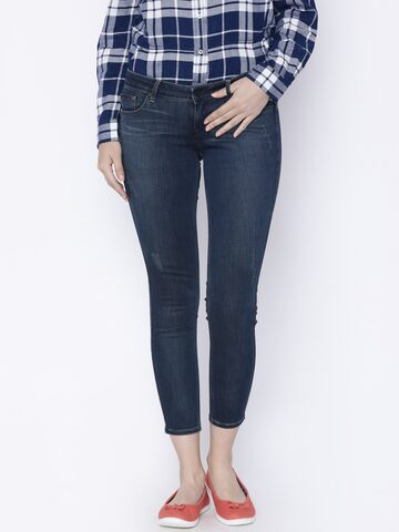 Lee Women Blue Maxi A Skinny Fit Low-Rise Low Distress Stretchable Jeans Lee Jeans at myntra