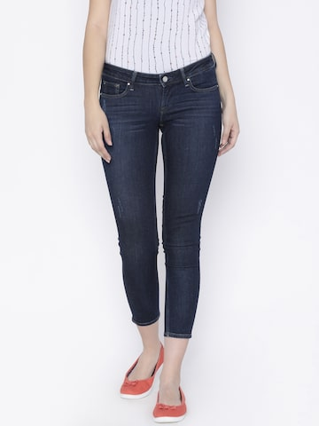 Lee Women Blue Slim Fit Low-Rise Low Distress Stretchable Jeans Lee Jeans at myntra
