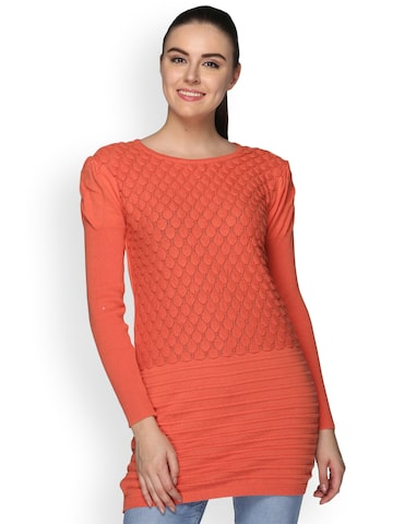 Club York Women Coral Orange Self Design Pullover Club York Sweaters at myntra