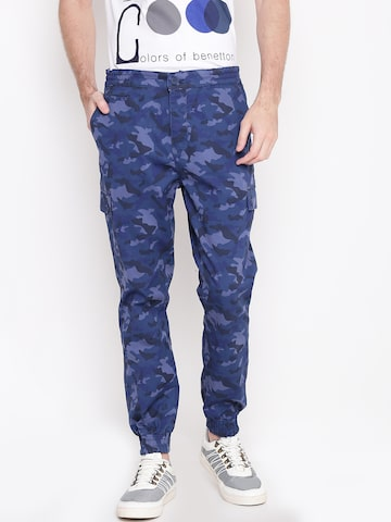 United Colors of Benetton Men Blue Camouflage Print Joggers United Colors of Benetton Trousers at myntra