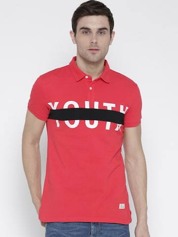 United Colors of Benetton Men Coral Red Printed Polo Collar T-shirt United Colors of Benetton Tshirts at myntra