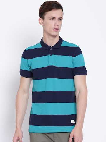 United Colors of Benetton Men Navy & Green Striped Polo Collar T-shirt United Colors of Benetton Tshirts at myntra
