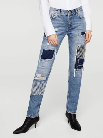 MANGO Women Blue Regular Fit Mid-Rise Mildly Distressed Jeans MANGO Jeans at myntra