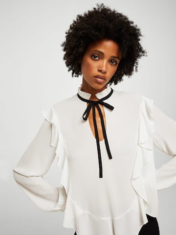 MANGO Women White Solid Top with Ruffles MANGO Tops at myntra