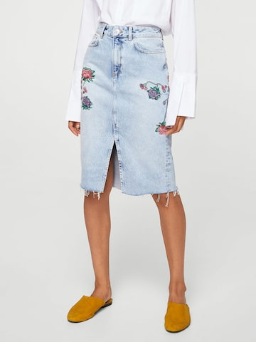 MANGO Blue Embroidered Detail Denim Pencil Skirt MANGO Skirts at myntra