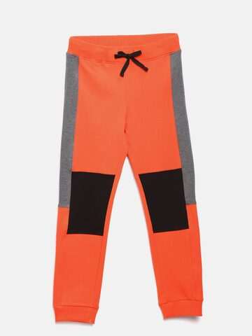 United Colors of Benetton Boys Orange & Black Colourblocked Joggers United Colors of Benetton Track Pants at myntra