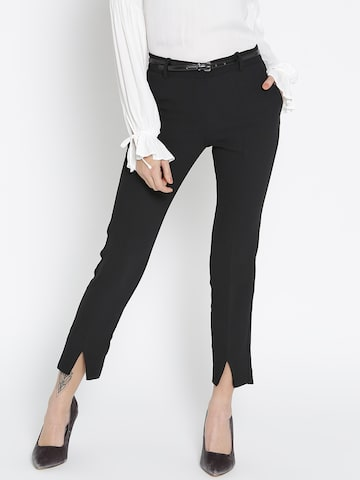 MANGO Women Black Solid Formal Trousers MANGO Trousers at myntra