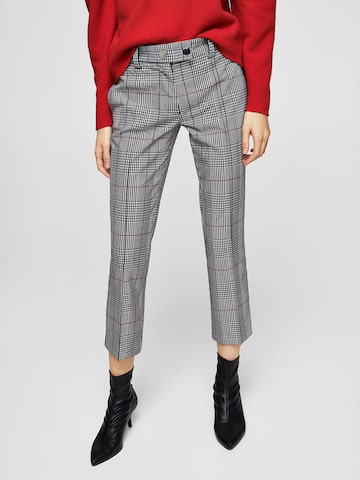 MANGO Women Black & White Regular Fit Checked Cropped Trousers MANGO Trousers at myntra