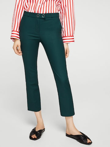 MANGO Women Green Solid Cropped Trousers MANGO Trousers at myntra