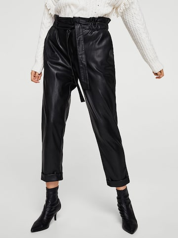 MANGO Women Black Regular Fit Solid Faux Leather Regular Trousers MANGO Trousers at myntra