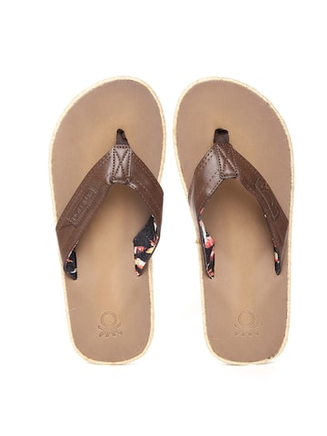 United Colors of Benetton Men Brown Flip-Flops United Colors of Benetton Flip Flops at myntra