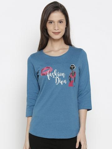 Jealous 21 Women Blue Printed Round Neck T-shirt Jealous 21 Tshirts at myntra