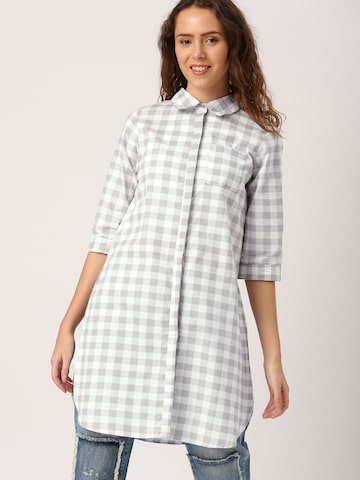 DressBerry Women White & Grey Regular Fit Checked Casual Shirt DressBerry Shirts at myntra