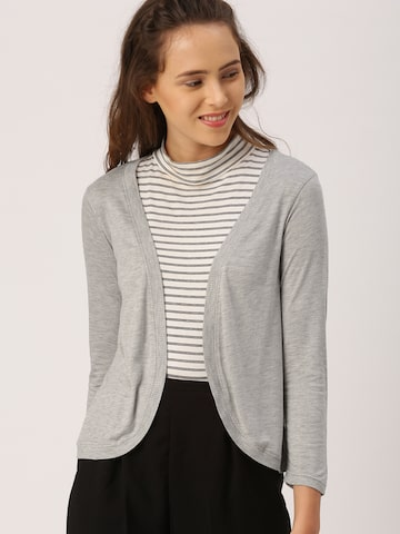 DressBerry Grey Melange Solid Open Front Shrug DressBerry Shrug at myntra