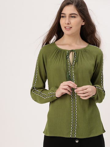 DressBerry Women Olive Green Solid Top DressBerry Tops at myntra