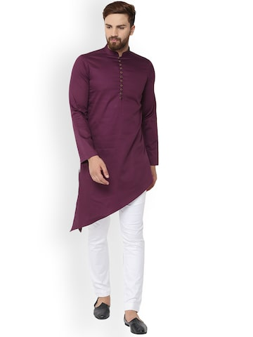 See Designs Men Burgundy Solid Straight Kurta See Designs Kurtas at myntra