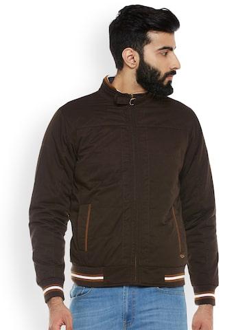 Duke Men Coffee Brown Solid Biker Jacket Duke Jackets at myntra