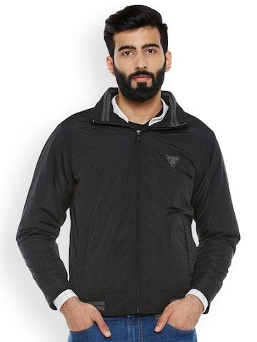 Duke Men Black Solid Sporty Jacket Duke Jackets at myntra