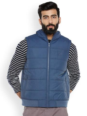 Duke Men Navy Blue Solid Padded Sleeveless Jacket Duke Jackets at myntra