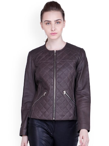 Justanned Women Brown Solid Quilted Jacket Justanned Jackets at myntra