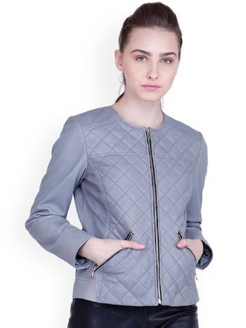 Justanned Women Grey Solid Quilted Jacket Justanned Jackets at myntra