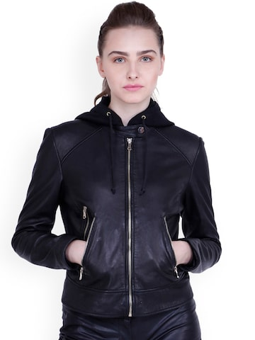 Justanned Women Black Solid Hooded Leather Jacket Justanned Jackets at myntra