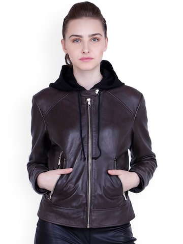 Justanned Women Brown Solid Hooded Leather Jacket Justanned Jackets at myntra