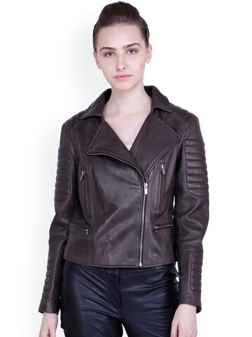 Justanned Women Brown Solid Leather Biker Jacket Justanned Jackets at myntra
