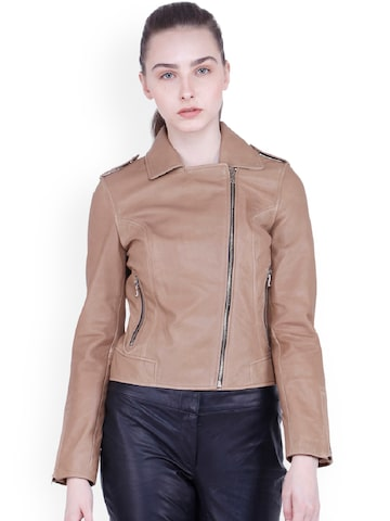 Justanned Women Tan Brown Solid Leather Jacket Justanned Jackets at myntra