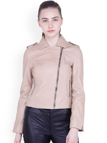 Justanned Women Beige Solid Leather Jacket Justanned Jackets at myntra