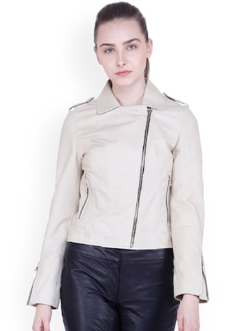 Justanned Women Cream-Coloured Solid Leather Jacket Justanned Jackets at myntra