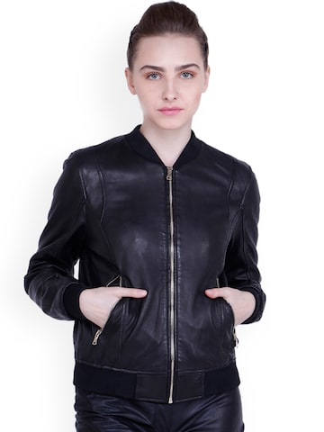Justanned Women Black Solid Leather Bomber Jacket Justanned Jackets at myntra