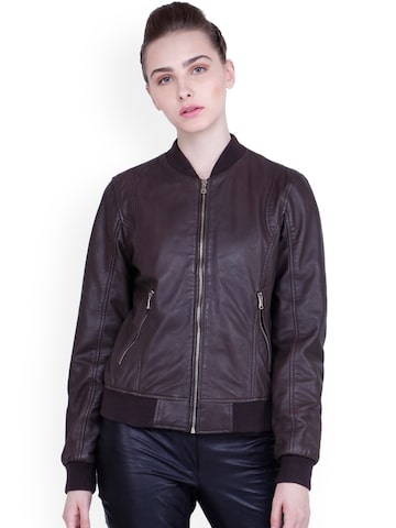 Justanned Women Brown Solid Leather Bomber Jacket Justanned Jackets at myntra