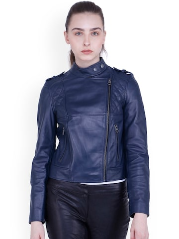 Justanned Women Blue Solid Leather Jacket Justanned Jackets at myntra