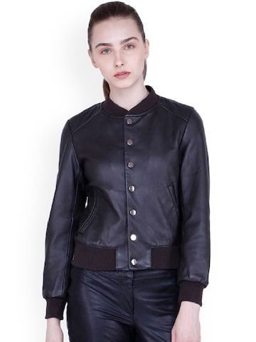 Justanned Women Brown Solid Leather Jacket Justanned Jackets at myntra