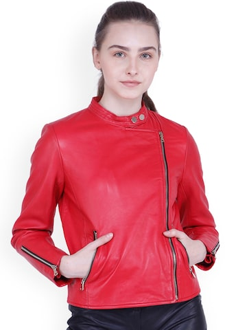 Justanned Women Red Solid Biker Jacket Justanned Jackets at myntra