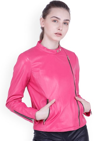Justanned Women Pink Solid Leather Biker Jacket Justanned Jackets at myntra