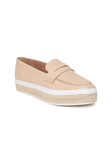 Carlton London Women Nude-Coloured Leather Loafers Carlton London Casual Shoes at myntra