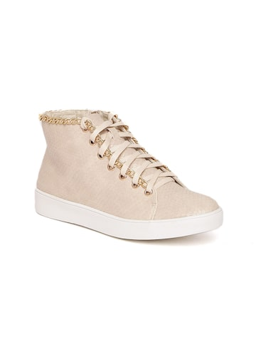 Carlton London Women Beige Textured Mid-Top Sneakers Carlton London Casual Shoes at myntra