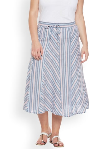 Oxolloxo Blue & Peach-Coloured Striped Flared Midi Skirt Oxolloxo Skirts at myntra