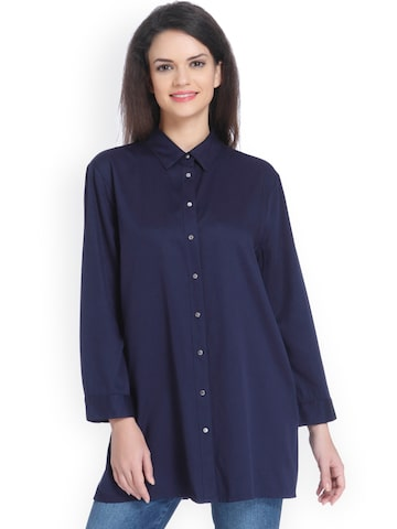 ONLY Women Navy Blue Shirt ONLY Shirts at myntra