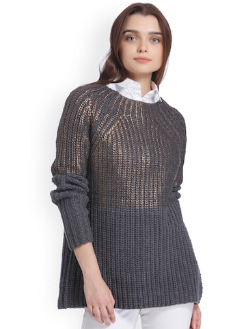 Vero Moda Women Charcoal Grey Self-Design Pullover Sweater Vero Moda Sweaters at myntra
