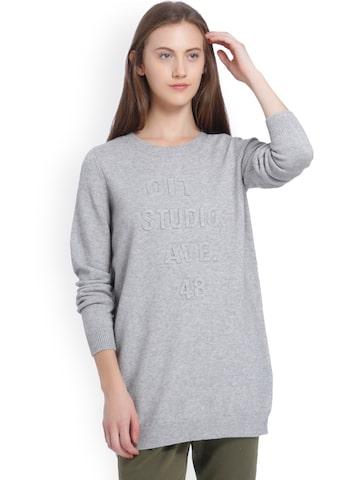 Vero Moda Women Grey Melange Printed Pullover Vero Moda Sweaters at myntra