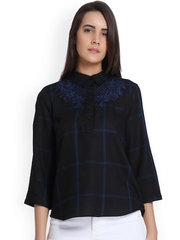 Vero Moda Women Navy Blue Checked Shirt Style Top Vero Moda Tops at myntra