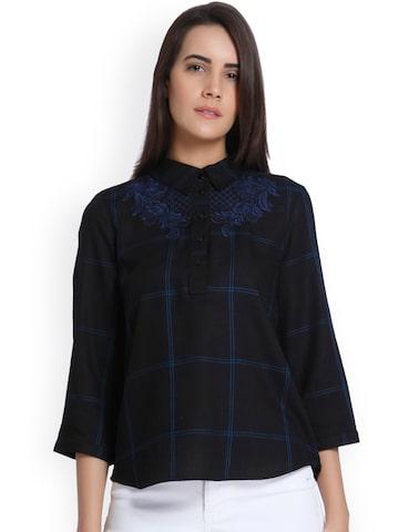 Vero Moda Women Navy Blue Checked Shirt Style Top Vero Moda Tops at myntra