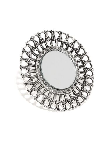 Rubans Silver-Toned Mirror Filigree Statement Ring Rubans Ring at myntra